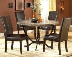 Hillsdale Furniture - Monaco 5 Pc Dining Set - For residential use. Set includes 1 Table and 4 Parson Chairs. Some assembly required. The Monaco dining is constructed of wood composites, marble veneers, solid wood, and leather. Matte Espresso color. A fantastic addition to any kitchen or dining room. Table: 48 in. Dia. x 30.5 in. H. Side Parson Chair: 18.25 in. D x 20.25 in. W x 38 in. HHillsdale Furniture's Monaco dining collection offers luxury and elegance at a price you can afford. A dynamic faux marble top sits atop a dramatic and strong metal globed base, and our sumptuous Parson's chairs subtly compliment the rich colors in the table top. Comfortable and understated, the upholstered Parson's chairs are covered in a rich brown leather with attractive stitched accents.
