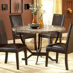 Hillsdale - Monaco 5 Pc Dining Set - For residential use. Set includes 1 Table and 4 Parson Chairs. Some assembly required. The Monaco dining is constructed of wood composites, marble veneers, solid wood, and leather. Matte Espresso color. A fantastic addition to any kitchen or dining room. Table: 48 in. Dia. x 30.5 in. H. Side Parson Chair: 18.25 in. D x 20.25 in. W x 38 in. HHillsdale Furniture's Monaco dining collection offers luxury and elegance at a price you can afford. A dynamic faux marble top sits atop a dramatic and strong metal globed base, and our sumptuous Parson's chairs subtly compliment the rich colors in the table top. Comfortable and understated, the upholstered Parson's chairs are covered in a rich brown leather with attractive stitched accents.