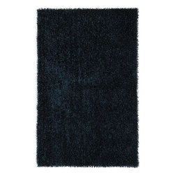 JRCPL - Flux Woven Shag Polyester Rug (2' x 3') - Ensure comfort underfoot while youre doing your hair when you place this polyester shag area rug in your bathroom. It comes in a beautiful solid dark blue that will pair well with your modern d�cor and features a high pile,so your toes will sink in.