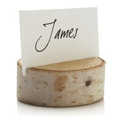 Stump Placecard Holder - The rustic good looks of natural birch add woodsy charm to the fall table. Cross-section of pure wood is slotted to hold placecards or food markers. Sizes will vary in width and height as a natural characteristic of randomly cut pieces of natural wood.