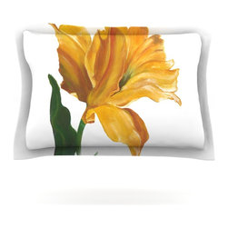 """Kess InHouse - Lydia Martin """"Yellow Tulip"""" Pillow Sham (Woven, 40"""" x 20"""") - Pairing your already chic duvet cover with playful pillow shams is the perfect way to tie your bedroom together. There are endless possibilities to feed your artistic palette with these imaginative pillow shams. It will looks so elegant you won't want ruin the masterpiece you have created when you go to bed. Not only are these pillow shams nice to look at they are also made from a high quality cotton blend. They are so soft that they will elevate your sleep up to level that is beyond Cloud 9. We always print our goods with the highest quality printing process in order to maintain the integrity of the art that you are adeptly displaying. This means that you won't have to worry about your art fading or your sham loosing it's freshness."""