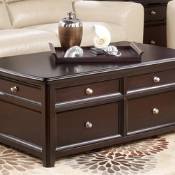 """Signature Design by Ashley - Lifttop Cocktail Table in Black - Made with select veneers and hardwood solids in a dark rich almost """"Black"""" finish. Satin nickel color hardware. Drawers on each piece for added storage. Cocktail features lift-top and additional drawer storage. 52 in. W x 32 in. D x 22 in. H. Assembly Instructions"""