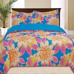 Bed In A Bag - Bellvue Comforter Set Multi Color - Kids Girls Bedding- Bellvue Comforter Set Multi Color.  Transform your child?s bedroom into a tropical paradise with this fun colorful bedding that features bold orange, pink and yellow flowers on a blue background. These fun colors and bright pattern will have your child feeling like their on vacation all year round. 100% Polyester/ Machine Washable