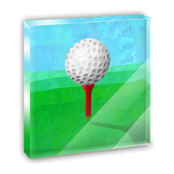 "Made on Terra - Golf Ball Mini Desk Plaque and Paperweight - You glance over at your miniature acrylic plaque and your spirits are instantly lifted. It's just too cute! From it's petite size to the unique design, it's the perfect punctuation for your shelf or desk, depending on where you want to place it at that moment. At this moment, it's standing up on its own, but you know it also looks great flat on a desk as a paper weight. Choose from Made on Terra's many wonderful acrylic decorations. Measures approximately 4"" width x 4"" in length x 1/2"" in depth. Made of acrylic. Artwork is printed on the back for a cool effect. Self-standing."