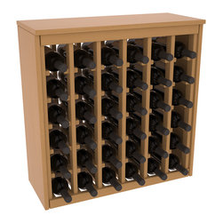 Wine Racks America - 36 Bottle Deluxe in Ponderosa Pine, Oak Stain + Satin Finish - Great start or addition to wine rack furniture, this wooden wine rack is designed to look like a freestanding wine cabinet. Solid top and side enclosures promote the cool and dark storage area necessary for aging your wine properly. Your satisfaction and our racks are guaranteed.