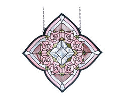 Meyda - 20 Inch W x 20 Inch H Ring of Roses Windows - Color theme: Pink CA 59 clear