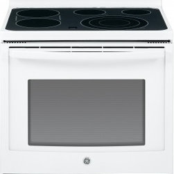 """GE - JB750DFWW 30"""" Free-Standing Electric Convection Range With True European Convect - The GE JB750 30 in 53 cu ft Electric Range with Self Cleaning oven in Stainless Steel features True European Convection Cooking with Precise Air plus Self-Cleaning with a Steam Clean option A Tri-Ring burner with 12 in 9 in and 6 in capability lets y..."""