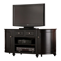 Holly & Martin - Sawyer TV-Media Stand - Features 2 cabinets with one fixed shelf each. Features 1 storage drawer and 1 open, center area with one adjustable shelf. Black finish. Brushed silver finish hardware. Features 1 cord management opening, shared between the center area shelves. Accommodates up to a 50 in. flat panel TV. Constructed of MDF, bent wood, and resin trim. Assembly required. Max weight capacity: 175lbs (top shelf), 20lbs (each center shelf), 15lbs (each side shelf). 48 in. W x 16 in. D x 24 in. H. Cabinets: 12 in. W x 14.5 in. D x 17.25 in. H with truncated corner for a rounded edge (interior). Drawer: 18.5 in. W x 12.5 in. D x 4 in. H. Center area: 19.5 in. W x 15 in. D x 12.5 in. H. Space beneath unit: 48 in. W x 16 in. D x 2.25 in. H This lovely TV/media stand touts a design worth building an entire family room around. The stunning black finish and intricate details make this piece a perfect choice for any home. This TV/media stand features two large, open areas for electronic and media equipment. Storage includes a wide, single drawer featuring exquisite, faux double drawer detailing. In addition, it features ornate, rounded cabinets on either side for storage of movies, games, or anything else that needs to be tucked away. This media stand highlights delicate touches and unique style. This media stand is perfect for traditional, transitional, and contemporary homes.