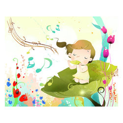 None - 'Girl Enjoying Music' Wall Art Canvas Print - Artist: Unknown Title: Girl Enjoying Music Product type: Gallery-wrapped canvas art