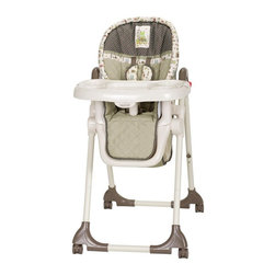 Baby Trend - Baby Trend High Chair - Bayou Friends Multicolor - HC01941 - Shop for Highchairs from Hayneedle.com! Keep your little one comfortable and safe with the Baby Trend High Chair - Bayou Friends. This versatile high chair is just right for baby with durable metal and plastic construction three reclining positions and six adjustable height settings. It features a comfy padded seat with a removable washable cover and pad and a detachable plastic serving tray that's dishwasher-safe for easy clean-up. A built-in storage basket lets you keep bibs and dishes nearby. This high chair has a five-point safety harness with a soft harness cover and is mounted on large caster wheels with brakes for portability. It measures 27W x 22D x 41H inches and folds for easy storage. Recommended for children who can sit upright unassisted up to approximately 40 pounds.About Baby TrendFor over two decades Baby Trend has been developing innovative solutions to meet the changing needs of modern parents. As one of the worldwide leading manufacturers of juvenile products the company's goal is to provide reliable products at an affordable price. From the Snap N Go stroller to the Diaper Champ Baby Trend's revolutionary designs are celebrated by busy parents everywhere. Based in Ontario California Baby Trend protects your children with car seats and other products that exceed federally regulated safety standards.