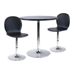 """Winsomewood - Spectrum 3-Piece Dining Table Set, 29"""" Round and 2 Swivel Faux Leather Chairs - Great 3-piece dining table set is perfect addition to your contemporary home, game room or office. 29"""" Round table made of MDF table and metal base. 2 swivel faux leather seat chairs. Easy assembly."""