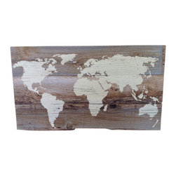 (del)Hutson Designs - reclaimed world map - This is lightly sanded then hand painted. We then cover them with a clear coat to seal the picture. The wood is left in its natural color.