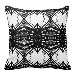 The Textile Co. - Black and White Sunflower Pillow in High End Designer Fabric - 20 x 20 - Black and White Sunflower Designer Pillow - 20 x 20