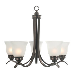 Sanibel Chandelier - Incandescent - Five Lights - Oil Rubbed Bronze - This vanity light fixture is modern and elegant with five lights. This chandelier has a unique and stylish structure that will complement almost any contemporary style home decor.