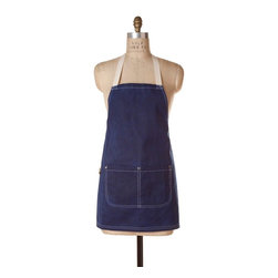 Birdkage - Patriot Waxed Mini Bib Apron - Show some muscle — and a little leg — in this apron. It's roomy and rugged, made of waxed heavyweight canvas, riveted pockets and contrasting topstitching. Shorter than the classic bib style, its three-quarter length lets in a little flirty style. The royal blue goes with practically everything, and it even comes packaged in its own reusable cotton drawstring bag with a little extra wax for at-home touch-ups. From cooking to crafts, you'll stay tidy and organized.