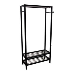 Ore International - Ore International Hanger & Shoe Stand Entry Organizer - N3011-WH - Shop for Closet from Hayneedle.com! Cut down on clutter with the easy-to-assemble Ore International Hanger & Shoe Stand Entry Organizer. This versatile design is crafted from solid wood in your choice of black or white finish (when available) and features racks that can hold at least 10 pairs of shoes and side bars perfect for your scarves ties and more.About Ore International Inc.Ore International Inc. creates beautiful accent furniture lighting and gifts for the home. Their goal is to be the leading provider of innovative superior home products worldwide. Ore International is based in Santa Fe Springs California and has a Customer First attitude. Their products are designed to match modern and classic tastes and fit today's homes. From room dividers to lamps end tables to entertainment centers you'll discover quality craftsmanship at a fair price in all Ore International products.