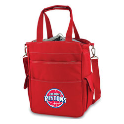 Picnic Time - Detroit Pistons Activo Waterproof Tote in Red - The Activo Waterproof Tote has a fully insulated compartment that provides plenty of room for your food and drink items. The tote's exterior is made of durable polyester and the interior is made of heat-sealed PVC for no leaks. All materials used exceed federal and state safety regulations, so you can be assured the Activo is safe. The Activo is ideal for the beach, sporting events, or long trips in the car. It can also be used for transporting cold items to and from parties, or frozen goods home from the store. Spacious pockets provide additional storage and convenience. Versatile and stylish, this bag is one the whole family will love! ; Decoration: Digital Print