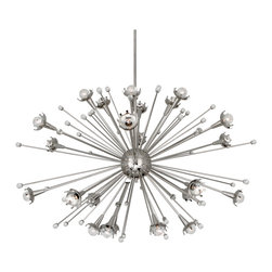 Robert Abbey - Robert Abbey Jonathan Adler Giant Sputnik Brass Chandelier, 11662 - Jonathan Adler's Sputnik Collection for Robert Abbey features a polished nickel chandelier with laser-cut crown cup motifs that lightly halo the bulbs for a modern glow. Tiny stems with crystal accents further reflect the galactic light and create a soft graceful design.