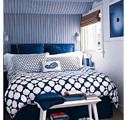 bedroom with mixed patterns - 50 Comfy Cottage Rooms - Photos - CoastalLiving.co