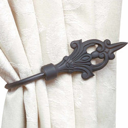 """Renovators Supply - Tie Backs Black Wrought Iron Curtain Tie Back - Victorian curtain tieback is 7"""" long and projects 3""""."""