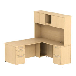 "Bush - Bush 300 Series 72"" L-Shape Computer Desk with Hutch in Natural Maple - Bush - Office Sets - 300S050AC - Transitional, classic styling fits ideally in any residential, commercial or office environment with the Bush Mocha Cherry 300 Series 72""W x 30""D Single Pedestal L Desk (B/B/F) with 42""W Return (F/F) and Tall Overhead Storage. Larger top surface and return offer plenty of workspace. Two box drawers and one file drawer in the pedestal store files or office supplies. The 42"" Return features two file drawers on fully extendable drawer slides for easy access to back. All file drawers accommodate letter- legal or A4-size files. Tall Overhead Storage helps keep desk areas clear and has an open center section for large books or oversize manuals. Height matches other 300 Series Tall Storage Units for side-by-side configurations. Four enclosed compartments hold supplies, electronics or personal items. Desktop grommets offer easy access and concealment of unsightly wires, cords or cables. Back-panel tack board holds notes, photos and more. Durable Diamond Coat work surfaces resist stains and scratches, looking good for years. Includes BBF Limited Lifetime warranty."