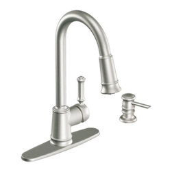 "Moen - Moen 87012SRS Lindley Single Handle Pullout Kitchen Faucet with Soap Dispenser i - Moen 87012SRS Lindley Single Handle Pullout Kitchen Faucet with Soap Dispenser in Spot Resist Stainless SteelAttention to detail is the perfect way to describe the Lindley collection. This collection embodies elaborate traditional designs intended to enhance the style and design of any home.Moen 87012SRS Lindley Single Handle Pullout Kitchen Faucet with Soap Dispenser in Spot Resist Stainless Steel, Features:• High-arc spout provides more clearance• Single Lever Handle• Includes Soap/ Lotion Dispenser• Hydrolock quick connect installation• Eco-performance aerated stream; Eco-performance spray; push button, full flow option• Spout height: 16""• 1, 3 or 4-hole application• Convenient single button actuation provides flexibility to switch from eco-stream or eco-spray mode to fast fill mode• Flexible supply lines with 3/8"" compression fitting connect directly to supply stop• Pullout spray with 68"" braided hose• 360? rotating spout provides ability to install handle on either side• ADA Compliant• 2.2 GPM (8.3 l/min) max or 1.5 GPM in eco-modeSpecification Sheet - Moen 87012SRSMoen Installation Instructions  Moen Limited Lifetime WarrantyManufacturer: MoenModel Number: Moen 87012SRSManufacturer Part Number: 87012SRSCollection: LindleyFinish Code: Finish: Stainless SteelUPC: 026508209455This product is also listed under the following Manufacturer Numbers and Finish Codes:Moen-87012SRS        87012SRS        Moen 87012SRS        MO87012SRSProduct Category: Kitchen FaucetsProduct Type: Pullout Spray Kitchen Faucet"