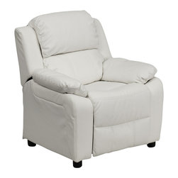 Flash Furniture - Flash Furniture Deluxe Heavily Padded Contemporary White Vinyl Kids Recliner - Kids will now be able to enjoy the comfort that adults experience with a comfortable recliner that was made just for them! This chair features a strong wood frame with soft foam and then enveloped in durable vinyl upholstery for your active child. Choose from an array of colors that will best suit your child's personality or bedroom. This petite sized recliner features storage arms so kids can store items away and retrieve at their convenience. [BT-7985-KID-WHITE-GG]