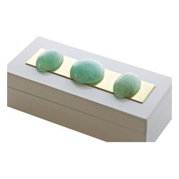 Times Two Design - Times Two Design Punk Rock Box with Fluorite - The Punk Rock Box with Fluorite features a white lacquered box with a brass bar accent and topped with an assortment of natural Fluorite stones.  Each and every box is unique, mother nature's art for your table top!Times Two Design products are made with natural stones. Variations in the stone colors and sizes should be expected and are not considered defects. Please call for details.
