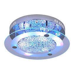 """Possini Euro Design - Possini Euro LED Light Show Floating Jewels Ceiling Fixture - This fabulous ceiling light design is sure to be the focal point wherever you put it. Six bright halogen bulbs illuminate this striking piece but the true """"wow"""" factor comes from red blue and purple LEDs. Use the included remote control to cycle through the colors and turn the halogen lights on and off. Create a range of mood-setting light effects! Comes with """"floating"""" crystal jewels to arrange as you like. The mirror-look chrome finish backplate and two-tone glass diffuser add dimension and additional optical effects. From the Possini Euro Design Lighting Collection. Chrome finish. Glass diffuser. Loose crystal jewel accents. Includes multicolor LEDs. Includes six 20 watt G4 halogen bulbs. Includes remote control. UL listed electronic transformer. 15 3/4"""" wide. 4 1/4"""" high.  Chrome finish.   Glass diffuser.   Loose crystal jewel accents.   Includes multicolor LEDs.   Includes six 20 watt G4 halogen bulbs.   Includes remote control.   Electronic transformer.   15 3/4"""" wide.   4 1/4"""" high.  LED's are not dimmable."""