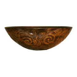 Flotera - Modern European Bathroom Bronze Gold Antique Design Glass Vessel Sink - Space: Vessel sinks often offer a smaller surface area, allowing you to have more counter-top space.