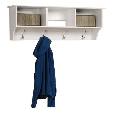 Prepac - Prepac Sonoma White Entryway Cubbie Shelf - Keep your gloves, hats, coats and jackets together where you need them with the entryway cubbie shelf. Perfect for any front hallway, mudroom or home office, it's three compartments have room for everything from mittens to schoolbooks. Four large hooks provide sturdy storage for your outerwear, scarves and tote bags. Install it easily with our innovative hanging rail system and get the versatile entryway piece you've been missing.