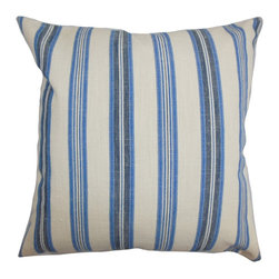 """The Pillow Collection - Omer Stripe Pillow Blue 18"""" x 18"""" - This accent pillow offers comfort and style to any of your room. A vertical stripe pattern in blue and white alternates beside each other. Crafted with 100% durable and soft cotton material, this throw pillow is ideal for indoor use. Pair this contemporary pillow with solids and other patterns from our selection of stylish decor pillows. Hidden zipper closure for easy cover removal.  Knife edge finish on all four sides.  Reversible pillow with the same fabric on the back side.  Spot cleaning suggested."""