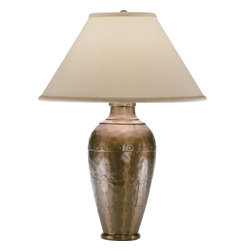 Robert Abbey - Foundry Table Lamp, Copper/Natural - -1-150W Max.