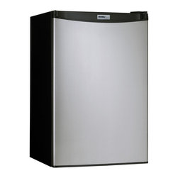 Danby - 4.4 Cu ft. Refrigerator, Push Button Defrost, Separate Freezer Section - The Danby Designer DCR044A2BSLDD Energy Star 4.4 Cu. Ft. Compact Refrigerator/Freezer, in black with a spotless steel door, offers compact refrigeration with a full-width freezer section. Perfect for dorm rooms and small offices, this energy efficient unit includes the CanStor beverage dispenser, tall bottle storage and plenty of shelf space. With a reversible door hinge, an integrated door handle and a smooth-back design, this handy refrigerator/freezer will fit almost anywhere.