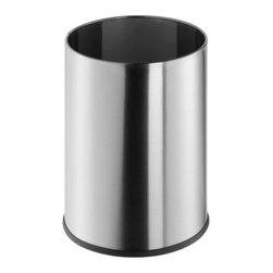 Geesa - Free Standing Round Satin Stainless Steel Waste Bin - Contemporary design free standing 9 liter round waste basket. Waste container is made out of stainless steel with a satin finish. Stylish bathroom waste bin without lid. Made in the Netherlands by Geesa. 9 liter round wastebasket. Contemporary and stylish. Made out of brass. Satin stainless steel finish. Stylish bathroom waste bin without cover. From the Geesa Standard Hotel Collection.