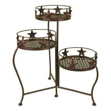 Zeckos - Brown Metal Western Star 3 Level Metal Plant Stand - This wonderful wrought iron Western star 3 tier plant shelf can be used indoors or out, and looks great on a patio or porch. The shelf measures 48 inches tall, 13 1/4 inches wide and 13 1/4 inches deep, and folds flat for storage when not in use. It has a brown enamel finish to match most color patterns. It makes a great gift.
