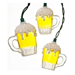 Kurt Adler Indoor/Outdoor String Lights, Beer Mugs - Turn any patio or deck into a man cave with this set of frosty beer lights.