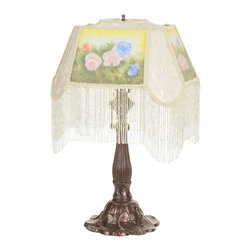 Meyda Tiffany - Meyda Tiffany Meyda Originals Table Lamp in Muliple Color - Shown in picture: Reverse Painted Roses Fabric With Fringe Accent Lamp