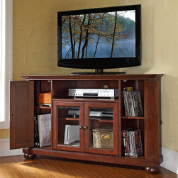 Crosley Furniture - Alexandria 48 in. Wood Corner TV Stand w Roun - Alexandria Collection. Vintage Mahogany finish. 3 Adjustable shelves. 4 Beautiful raised panel doors. Accommodates most 52 in. TVs. Solid hardwood and veneer construction. Hand rubbed multi-step finish. Tempered beveled glass doors. Wire management. Adjustable levelers in legs. Hardware design:. Brushed Nickel hardware for Black finish. Antique Brass hardware for Classic Cherry finish and Vintage Mahogany finish. Assembly required. 1-Year manufacturer's warranty. 47.75 in. W x 18 in. D x 29 in. H (98 lbs.)