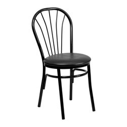 Flash Furniture - Flash Furniture Hercules Fan Back Metal Chair in Black - Flash Furniture - Dining Chairs - XU698BBLKVGG - This traditional Fan Back Chair is often used in the Hospitality industry for its casual design. These heavy duty chairs are lightweight to make moving around easy to do. The easy to clean vinyl padded seat is easy to clean when in a high paced environmen