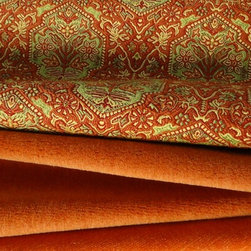 Place Textiles Collection - An intricate and durable brocade is combined with a sumptuous alpaca in a rich orange and a chic linen velvet in a slightly brighter hue. The result is a strike scheme that plays on texture and color.