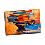 Picture it on Canvas - Sunset and Boats, Boats and Sunset - These depictions of boats on the water won't be mistaken for photographs of actual watercraft, but with their bright, cheery flourishes and visible brushstrokes of color, they'll add a lively nautical tone to any hallway or living room.