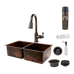 """Premier Copper Products - Premier Copper Products KSP2_K50DB33199 33"""" Copper 50/50 Double Basin Sink Pkg - Premier Copper Products KSP2_K50DB33199 33"""" Copper 50/50 Double Basin Sink Package"""