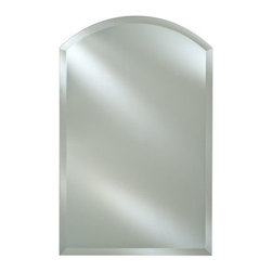 Radiance Frameless Arch Vanity / Wall Mirror - The Radiance Frameless Arched Vanity / Wall Mirror is ideal for any bathroom foyer or bedroom. Its frameless arched design features a 1-inch beveled edge and offers a clean crisp look that complements a variety of décor styles. Hang easily from any wall with the included hanging hardware and choose from multiple size options to match the wall space available.Mirror Dimension options:16W x 25H inches20W x 30H inches24W x 30H inchesAbout AfinaAfina Corporation is a manufacturer and importer of fine bath cabinetry lighting fixtures and decorative wall mirrors. Afina products are available in an extensive palette of colors and decorative styles to reflect the trends of a new millennium. Based in Paterson N.J. Afina is committed to providing fine products that will be an integral part of your unique bath environment.