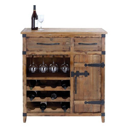 Benzara - Wine Cabinet with Shelves, Racks and Utility Drawers - This wooden cabinet is the stylish way to store and showcase your favorite wine. With excellent design befitting an antique piece, this high quality wood of this cabinet is shaded in natural hue and the borders are well defined and crafted expertly. The top surface is especially finished to hold wine glasses and presentation trays comfortably at the appropriate height. There are a couple of drawers and spacious racks that offer the best utility in terms of storing essentials needed for drink sessions. The drawer fronts and handles are conveniently placed to pull open and close the drawers and rack whenever necessary. The contrasting colored edges and the hinges of the rack make the cabinet more prominent and visually appealing. The open shelves are specially crafted to hold wine bottles both in the upright as well as resting position. This wine cabinet is the perfect choice to securely and stylishly store your wine bottles. Made from a high quality wood, it will last for long..