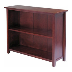 """Winsome Wood - Winsome Wood Milan Storage Shelf / Bookcase with Antique Walnut Finish X-93549 - This shelf offers a great alternative to home d&#233:cor, finished in an antique walnut stain, this piece features 2 large shelves as well as third tier for displaying your photographs.  Turn this storage shelf into multi purpose shelf by adding our wired baskets or foldable fabric baskets for a total different look.  Shelf assembled dimension is 39""""W x 13""""D x 30""""H.  Spacing between each shelf is 12.20"""" with shelf surface of 34.25""""W x 11.14""""D.  Shelf top surface is 39""""W x 13""""D.  Made with combination of solid and composite wood in Walnut finish.  Assembly Required."""