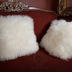 Tibetan / Mongolian Lamb Fur Pillows - Our world famous dreamy pillows made from 100% real soft and fluffy Tibetan lamb fur on one side of the pillows, backed with faux suede backing. All of our pillows are fully lined on both the front and back to provide stability and longevity. Using the zipper on the back of the pillow covering.You can fill the pillows with a stuffing material or pillow of your choice. They add a touch of softness, beauty, and warmth to any room. The fur is over 3.5 inches long. All colors are professionally dyed. Tibetan lamb fur is a luxurious fur that is incredibly soft, silky and curly.
