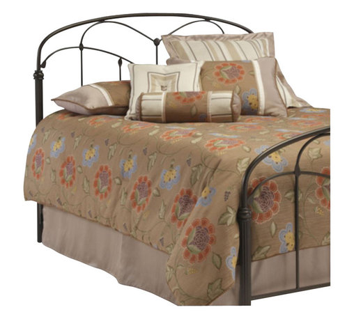 Fashion Bed - Fashion Bed Pomona Metal Panel Headboard in Hazelnut-Queen - Fashion Bed - Headboards - B12755 - This headboard fuses together unusual design elements to create a charming silhouette. It incorporates arching cross rails that are joined by quiet floral castings to the long spindles. Lovely uncommon fluted posts anchor a straight bottom cross rail and a slightly curved top rail. The hazelnut finish adds a warm tone to the bedroom. The Pomona Headboard named for the Roman goddess of fruit trees gardens and orchards is a striking focal point for any bedroom in the home.