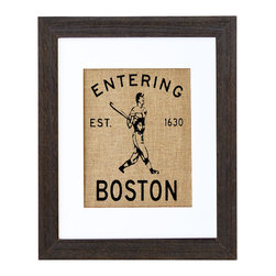 Fiber and Water - Entering Boston Art - Take a swing at style! You'll pay homage to both Boston and baseball with this vintage-inspired print, hand-pressed on natural burlap using water-based ink.
