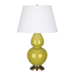 Robert Abbey - Robert Abbey Large Double Gourd Pearl Dupioni Table Lamp with Brass Base CI20X - Citron Glazed Ceramic